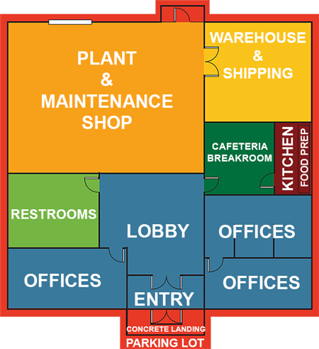 Lobby, Offices, Plant, warehouse, shipping, restrooms, food prep