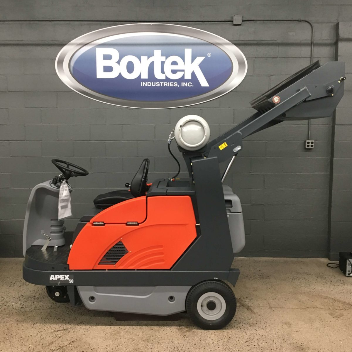 PowerBoss Apex 58 Floor Sweeper Hopper Raised