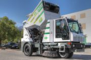 Global Environmental R3 Three Wheeled Street Sweeper- raised hopper