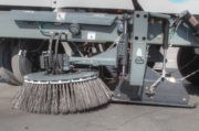 Global Environmental R3 Three Wheeled Street Sweeper- side view broom