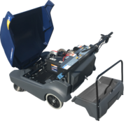 Hammerhead 900SX- Walk Behind Battery Powered Sweeper- open hopper and battery engine compartment