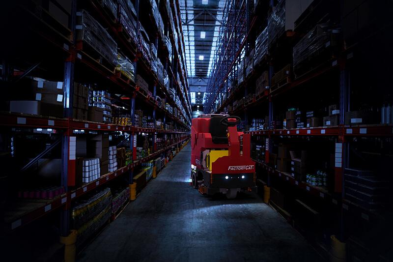 Factory Cat GTR Ride-On Scrubber Warehouse Lights
