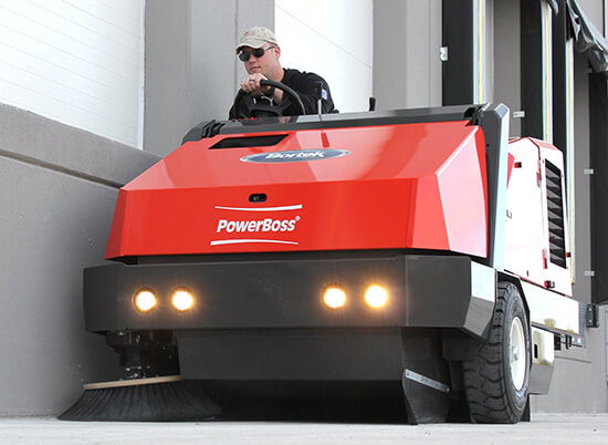 PowerBoss Atlas parking lot sweeper demo