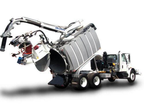 Aquatech Jet-Vac Sewer Cleaning Truck Dumping
