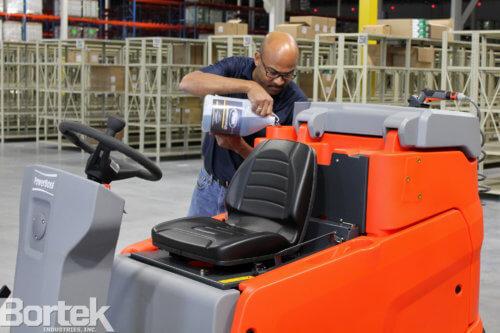 PowerBoss Scrubmaster Adding Bortek Cleaning Chemical