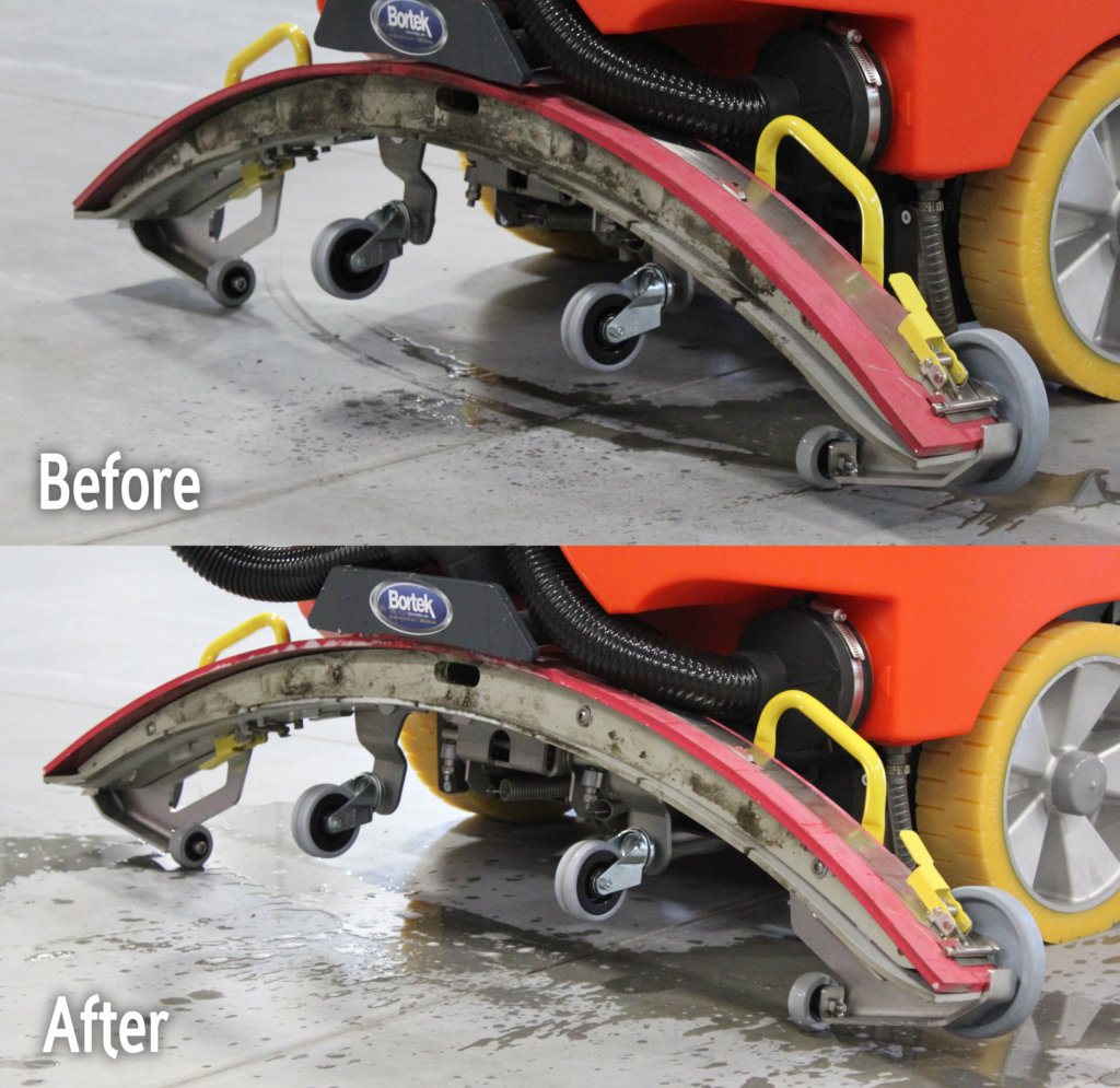 PowerBoss Scrubmaster Self-cleaning Squeegee Before/After
